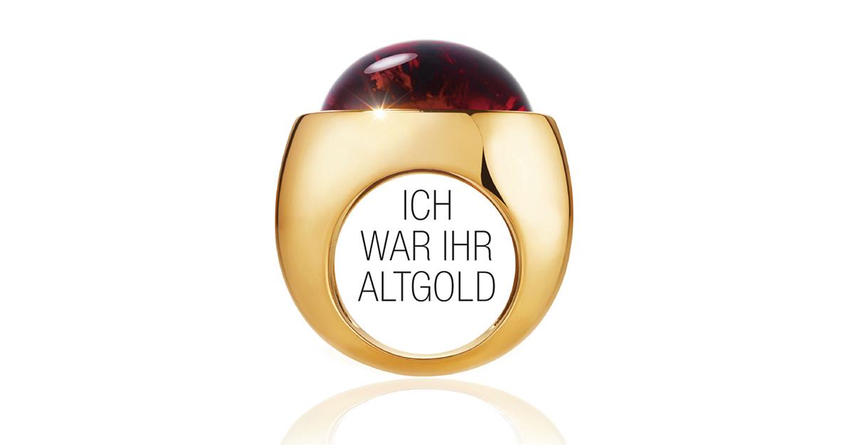 Altgoldwerbung bei C.Hafner: Bei C.Hafner ging man einen ganz anderen Weg und macht Lust auf das schöne neue Schmuckstück, das der Kunde mit dem Erlös aus seinem Altgold kaufen kann.