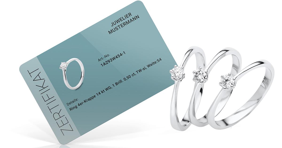 Die DiamondGroup brandet auf Wunsch nicht nur den Schmuck für den Juwelier, sondern auch das Zertifikat.