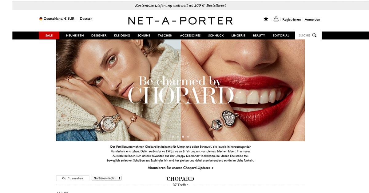 Produkte von Chopard gibt es jetzt auch online bei Net-A-Porter.