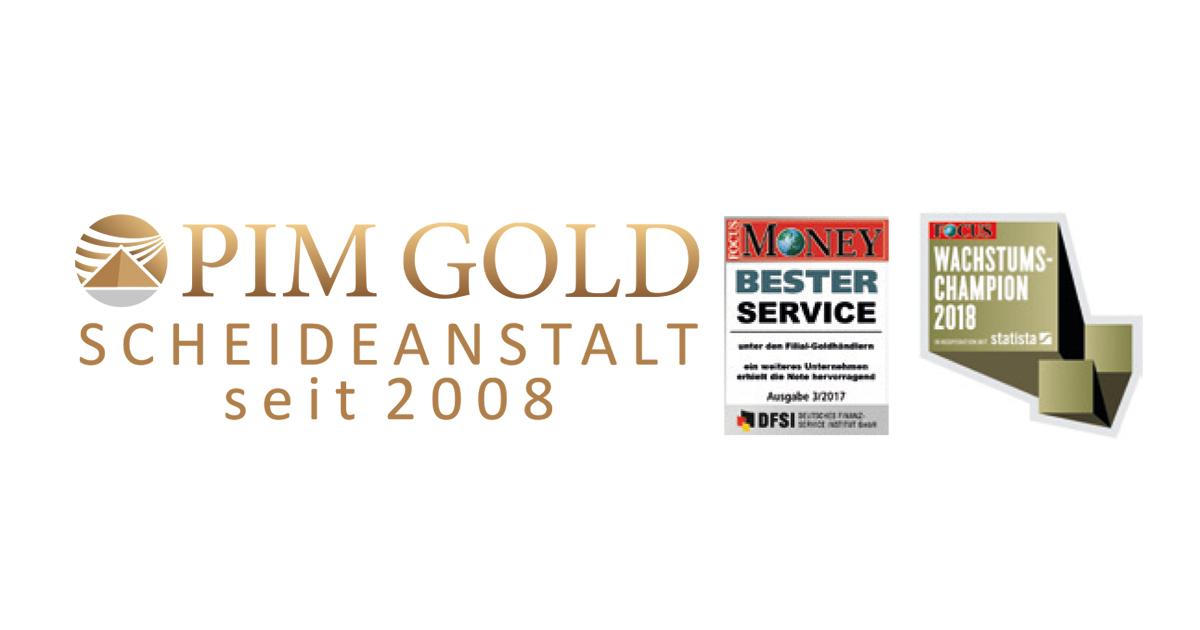 """Pim Gold wurde bereits zwei Mal ausgezeichnet: 2017 in der Kategorie """"Bester Service"""" unter den Goldmakler-Vertrieben von Focus Money und als Wachstumschampion 2018 von Focus."""