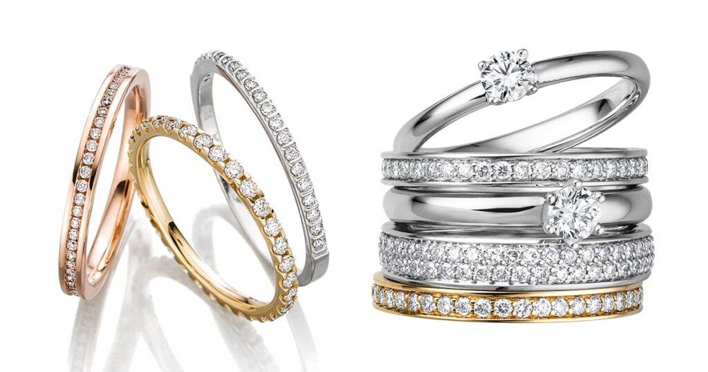 Für mehr Diamantumsatz! Solitäre und Memoire- beisteckringe, ideal zum Kombinieren mit Giloy Trauringen.