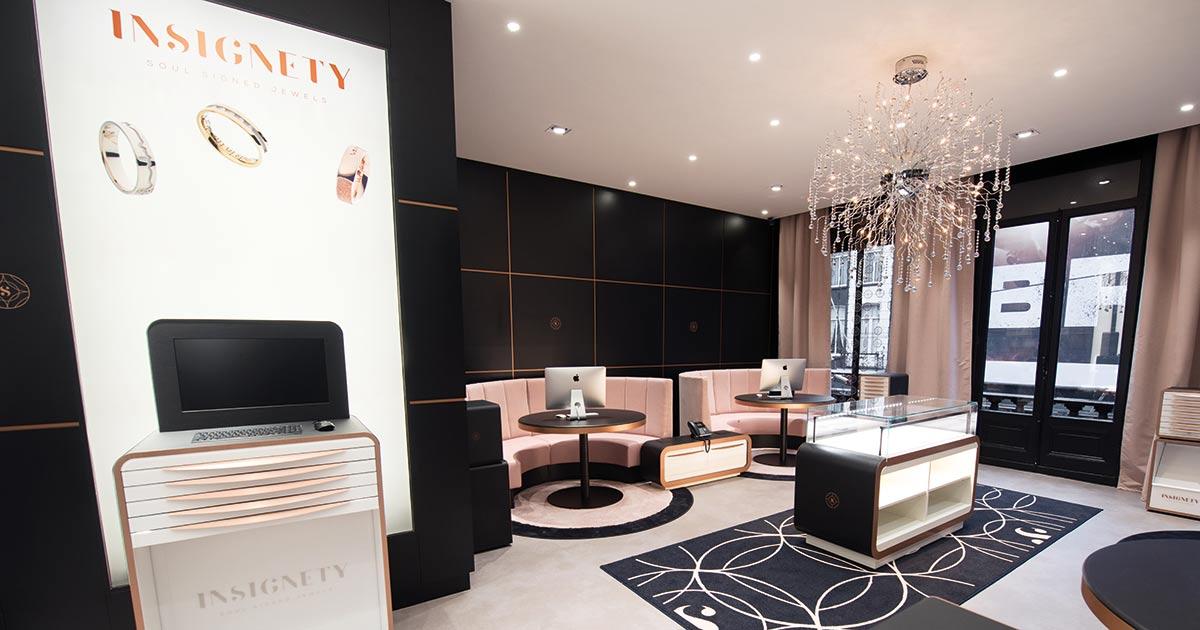 So schön kann der Trauringkauf sein: Edle, stilvolle Gestaltung: der Flagship-Store der Trauringmarke Insignety in Amsterdam.