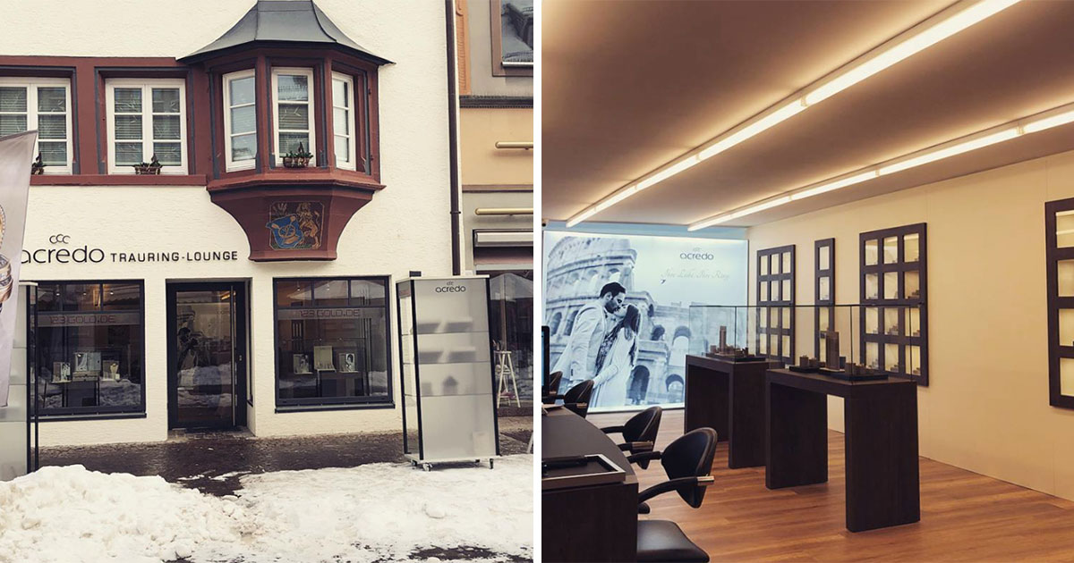 Der neue acredo-Shop in Villingen von Juwelier Stein zeigt die große Bedeutung des Ehering-Geschäfts.