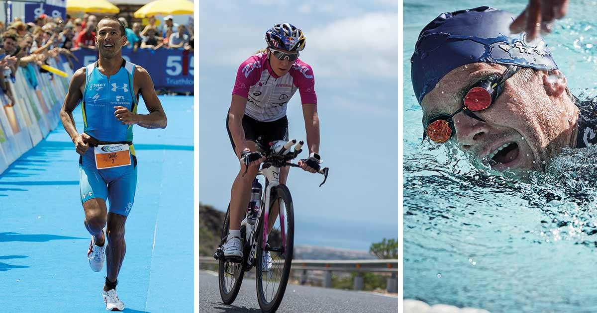 "Das Breitling Triathlon Squad: Chris ""Macca"" McCormack, Daniela Ryf und Jan Frodeno (vlnr)."