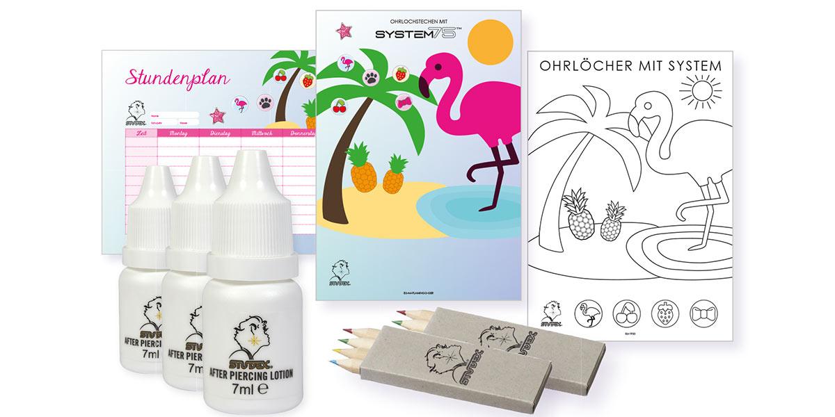 Super-Sommer-Aktion: Teilnehmende Fachgeschäfte erhalten vom 18. Juni bis 9. September 2018 ein attraktives Gratis-Paket mit Ohrlochkosmetikum und sommerlichen Verkaufsförderungsmaterialien mit Flamingo-Motiv.