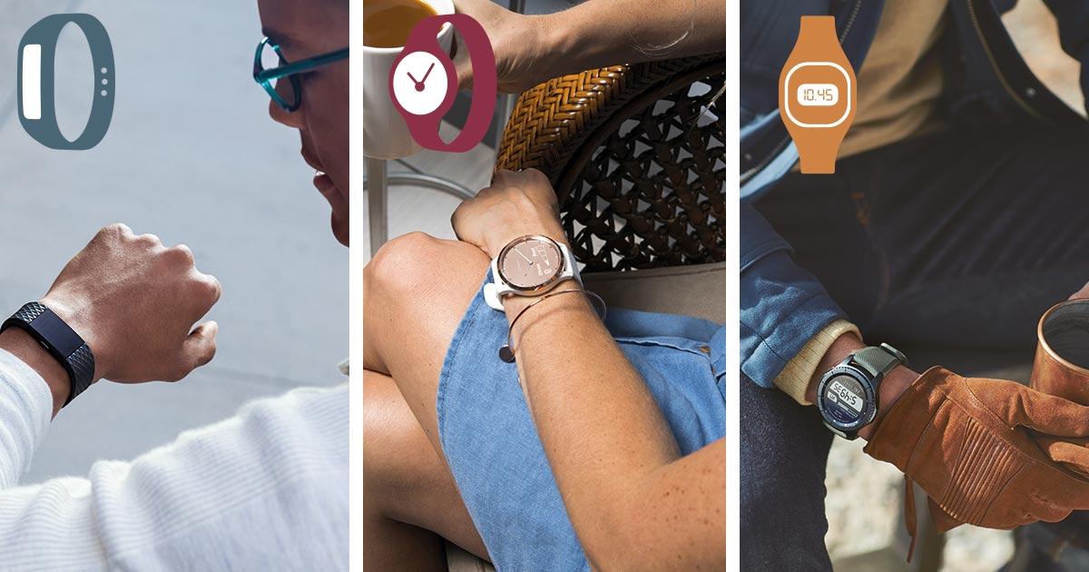 Ob Fitnesstracker (hier: Fitbit), Connected Watch (hier: Garmin) oder Smartwatch (hier: Samsung): alle drei Segmente wachsen.
