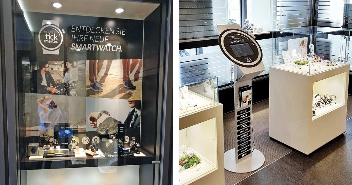 Juwelier Wichelhaus tut etwas für seinen Smartwatch-Umsatz. Gemeinsam mit Komsa.