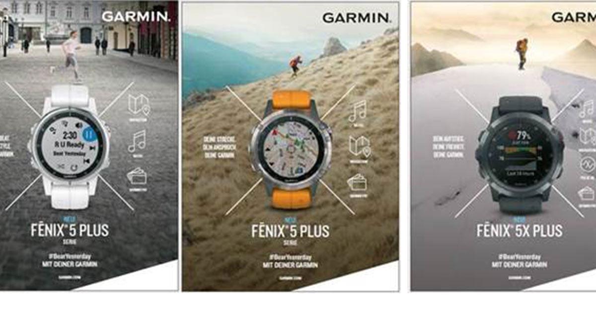 Mit diesen Motiven ist Garmin in Print-Medien vertreten.