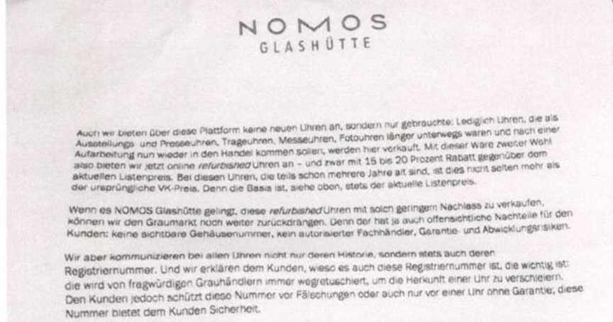Ein Brief bringt die Händler in Wallung: Nomos-Chef Roland Schwertner kündigt an, künftig auch an Chrono24 und Chronext direkt zu liefern.