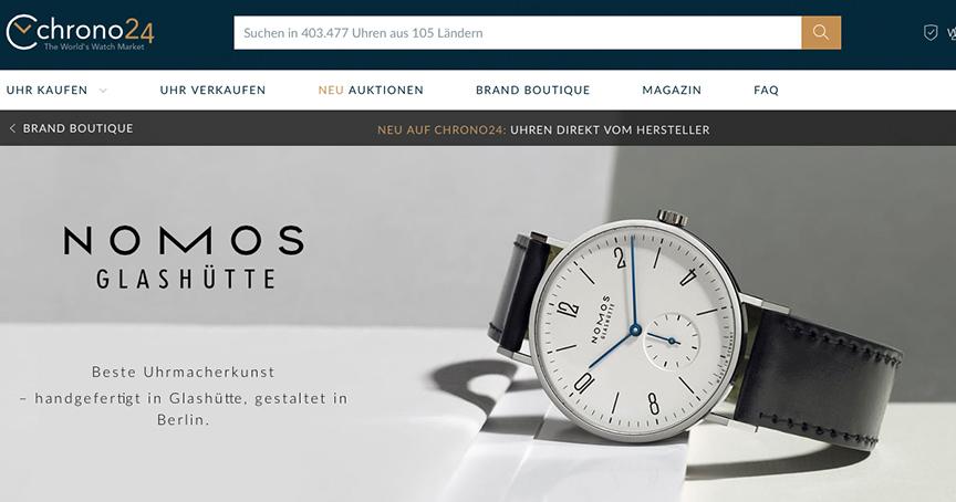 Uhren direkt vom Hersteller: Nomos gibt es jetzt auch bei Chrono24, allerdings nur leicht-gebrauchte Modelle.