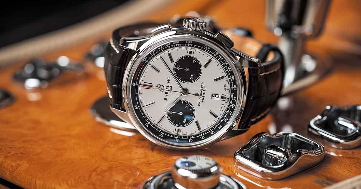 Prunkstück ist der Premier B01 Chronograph 42 mit dem hauseigenen Manufakturkaliber, für das fünf Jahre Garantie gewährt wird.