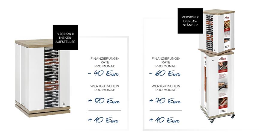 Flume legt drauf: Der Juwelier zahlt pro Monat zehn Euro weniger für die Rate der neuen Uhrenarmband-Displays, als er als Gutschrift beim Kauf der Bänder bekommt.