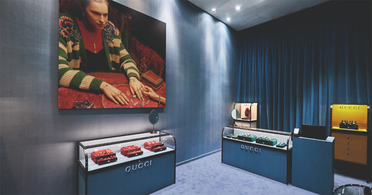 Ein Blick in die Pop-up-Boutique von Gucci in London.