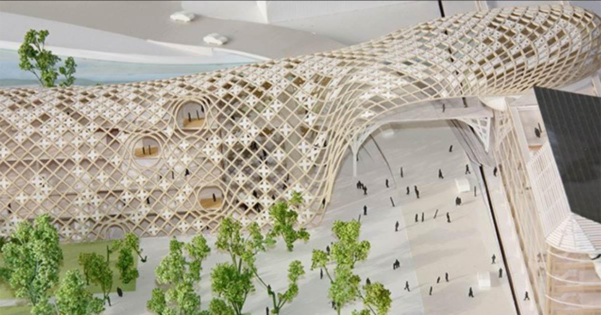 Eines Skizze des Architekten zeigt den schlangenförmigen Korpus des Neubaus.