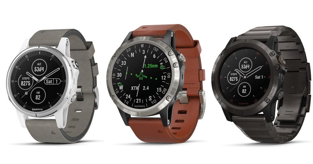 Die drei Bestseller zur Inhorgenta sind die Fenix 5 S Plus velours Leder, die D2 Delta Leder und die Fenix 5X Plus DLC Titan (vlnr).