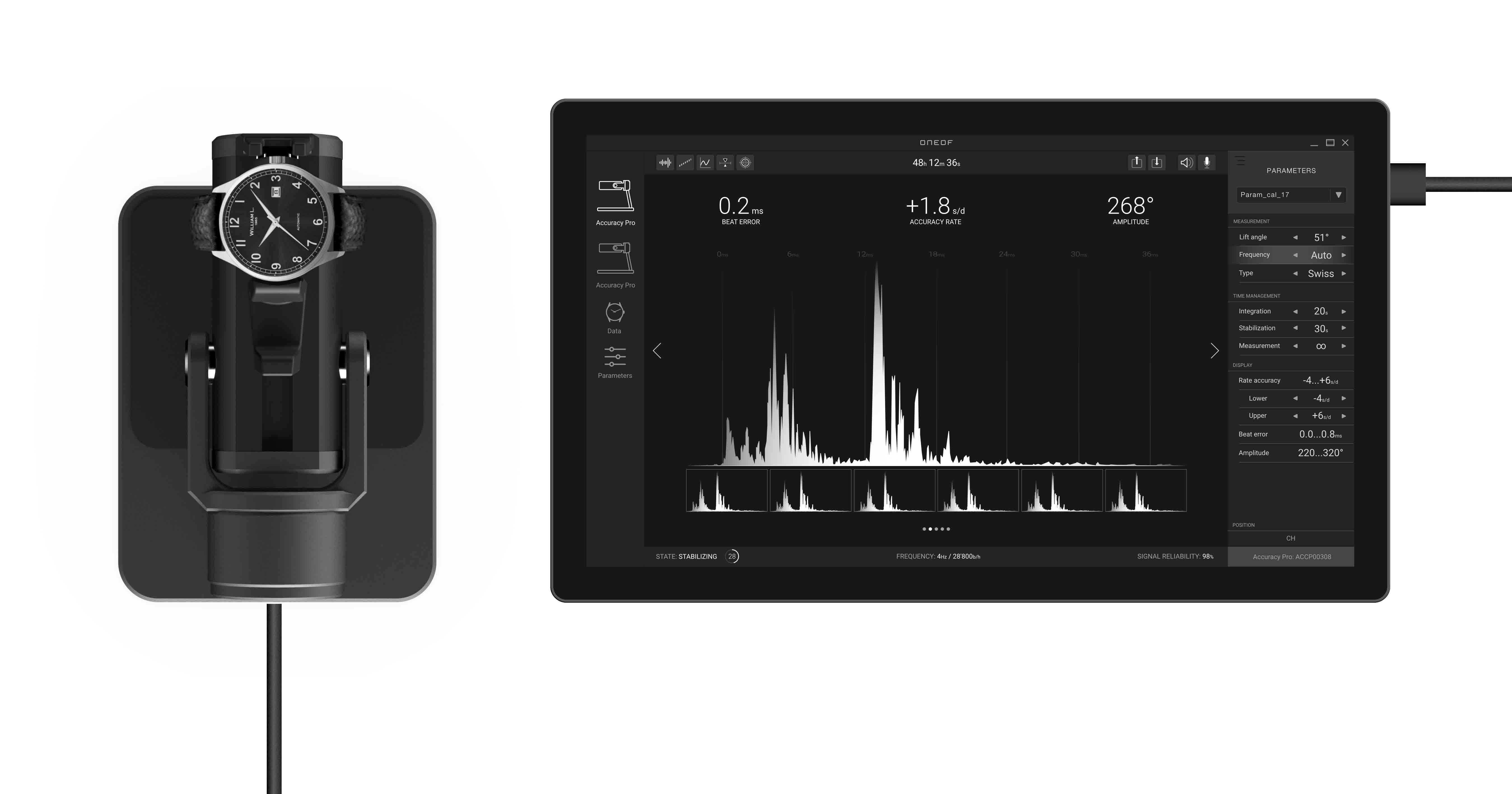 Die neue Generation der Accuracy-Serie von Oneof kann die Messresultate einer mechanischen Uhr auf dem Tablet und sogar auf dem Smartphone darstellen.