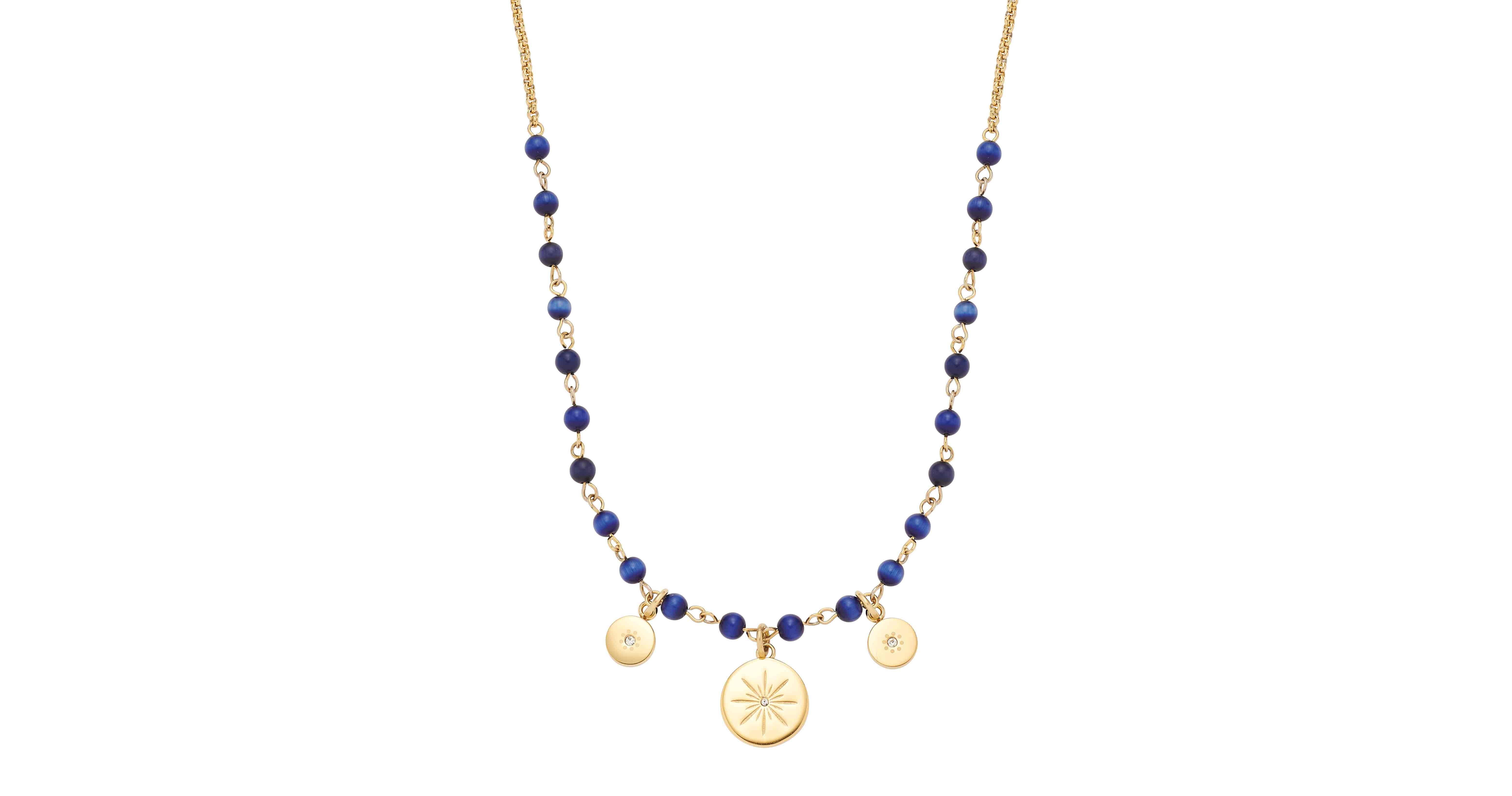 Die Halskette Rosella (Edelstahl mit Gold IP-Plating, dunkelblaue Cateye-Glasbeads und Glaskristalle) kostet 69,95 Euro VK.