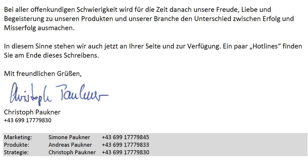 Christoph Paukner will der Branche mit seinem Appell Mut machen.
