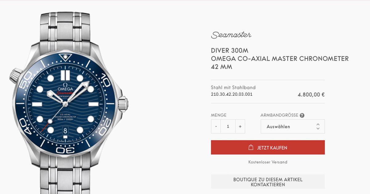 Omega hat seinen Webshop für Europa gelauncht. Der Juwelier spielt dabei keine Rolle. Wer die Uhr in echt sehen will, wird auf Boutiquen verwiesen.