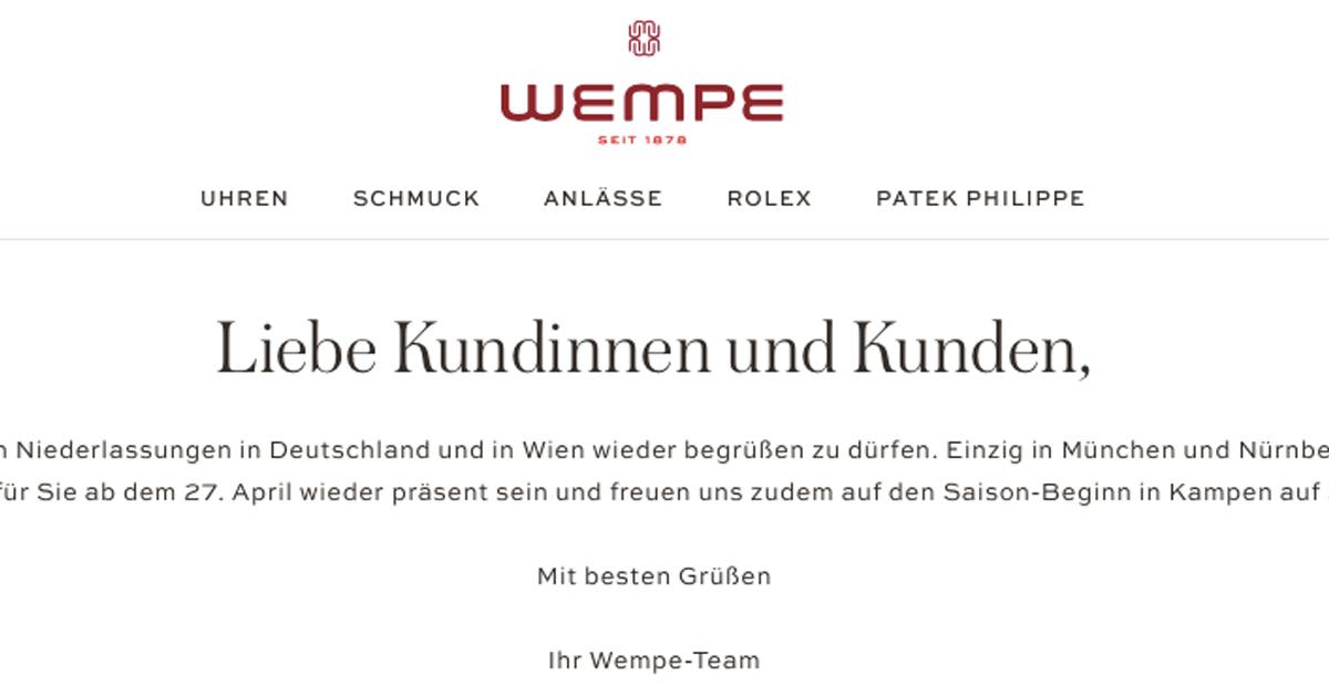 Auch die größte Wempe-Niederlassung in München wird am Montag öffnen dürfen.
