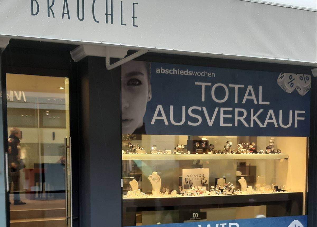 So machte Juwelier Brauchle auf den Ausverkauf aufmerksam.