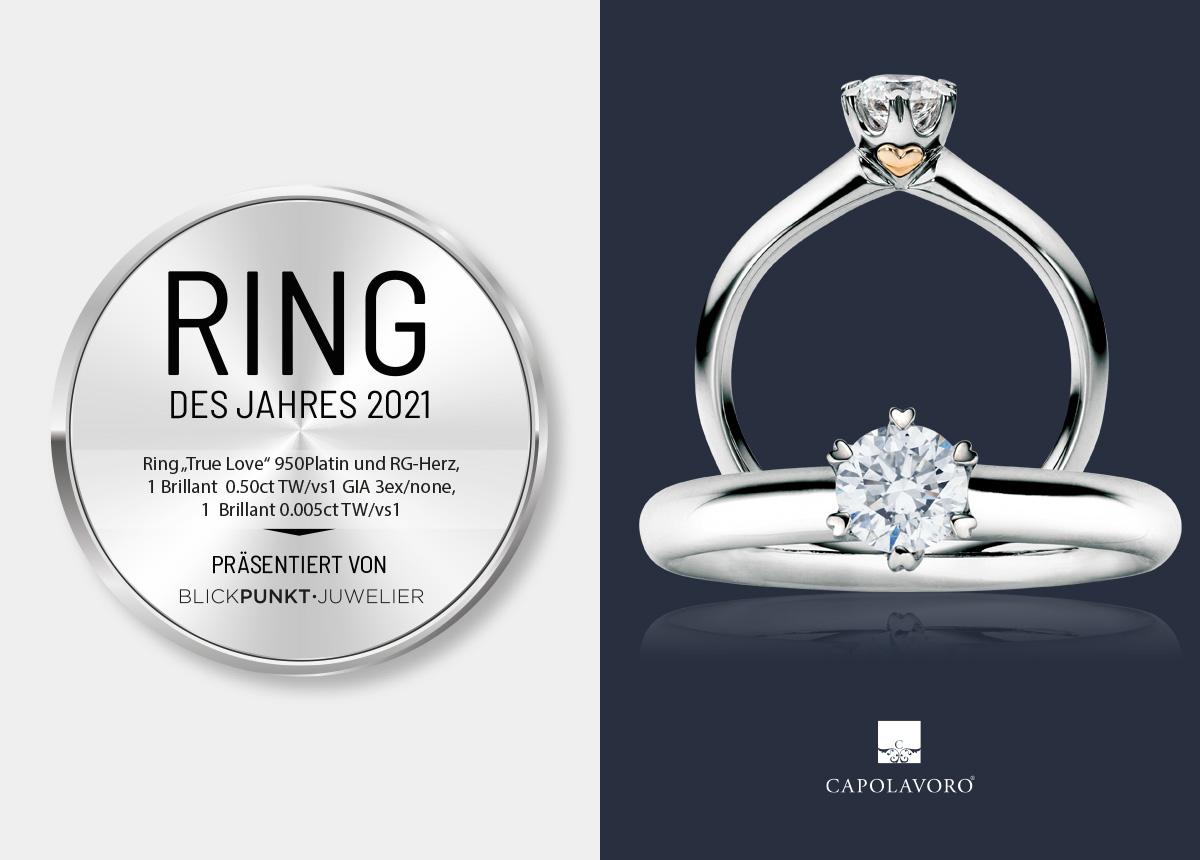 """Der Ring des Jahres 2021 von Capolavoro ist das Modell """"True Love""""."""