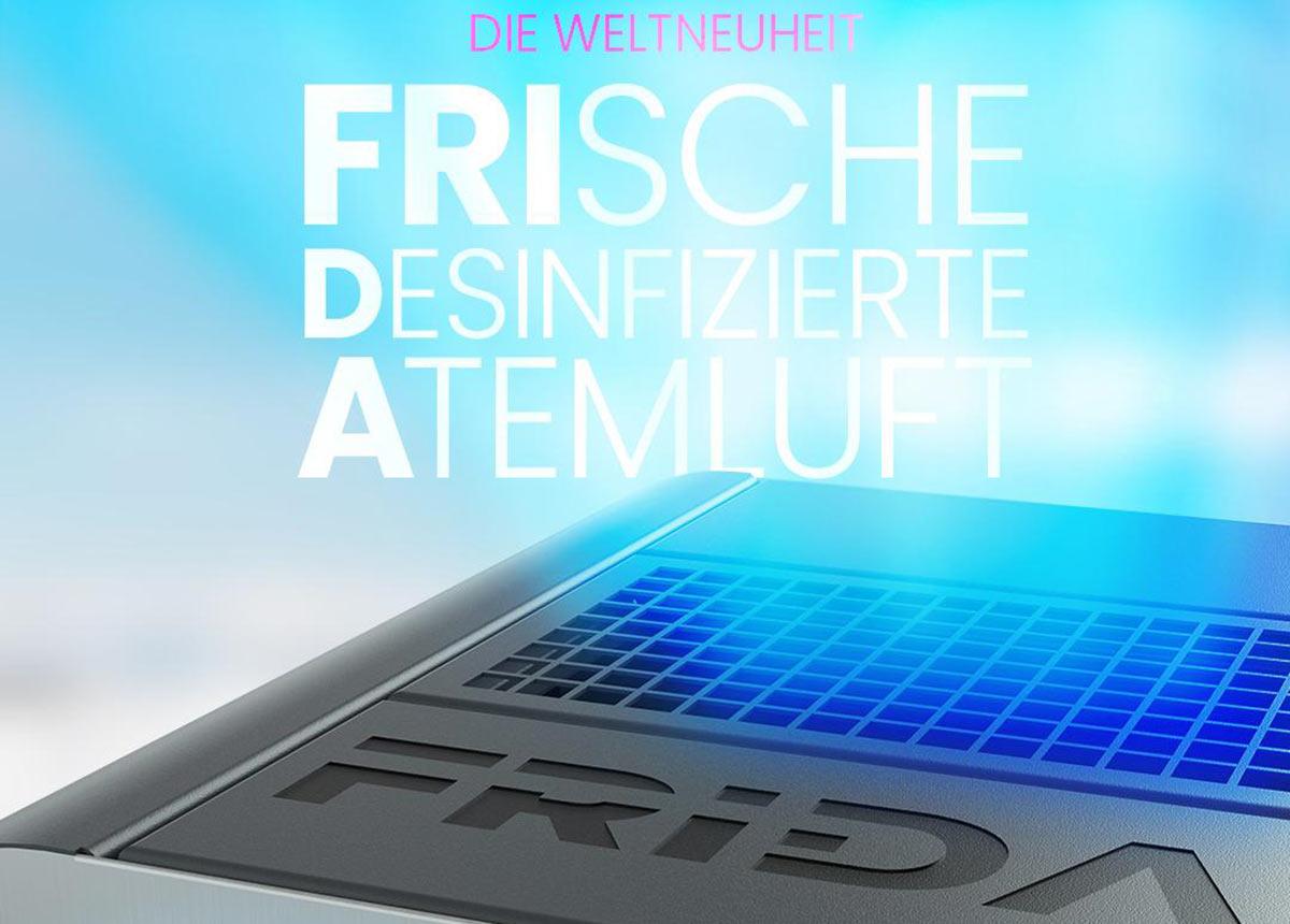 FRIDA bietet Sicherheit und Sauberkeit mit einem einzigartigen 5-dimensionalem Raumluft- & Flächenhygiene-Konzept.