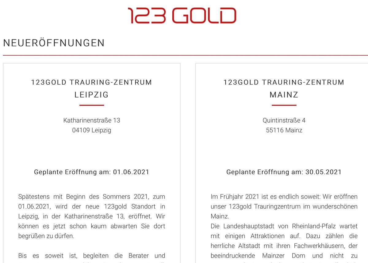 Zwei Neuigkeiten bei 123gold: In Leipzig kommt es zu einem Wechsel, in Mainz zu einer Neueröffnung.