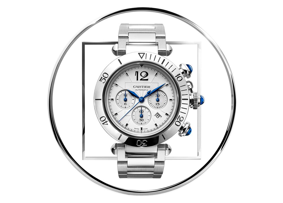 Der neue Pasha de Cartier Chronograph hat einen Durchmesser von 41 mm.