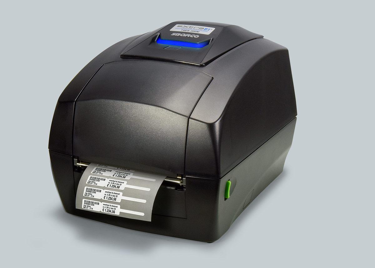 Nur von eXtra4: für Schmuck-Etiketten modifizierter Thermotransfer- Drucker SBARCO T4ES-300M