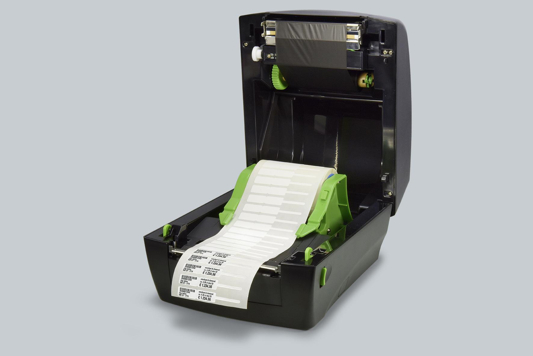 Die Clamshell-Bauweise macht den neuen eXtra4 Thermotransfer-Drucker von SBARCO gut zugänglich bei Farbband- und Etiketten-Wechsel.