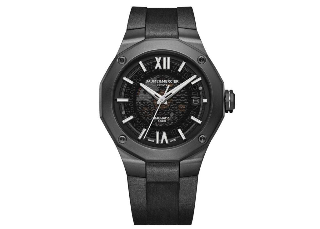 Mit Baumatic: Die neue Riviera, hier die Version mit ADLC-Edelstahl und Kautschuk-Armband, wird vom Manufakturkaliber angetrieben.