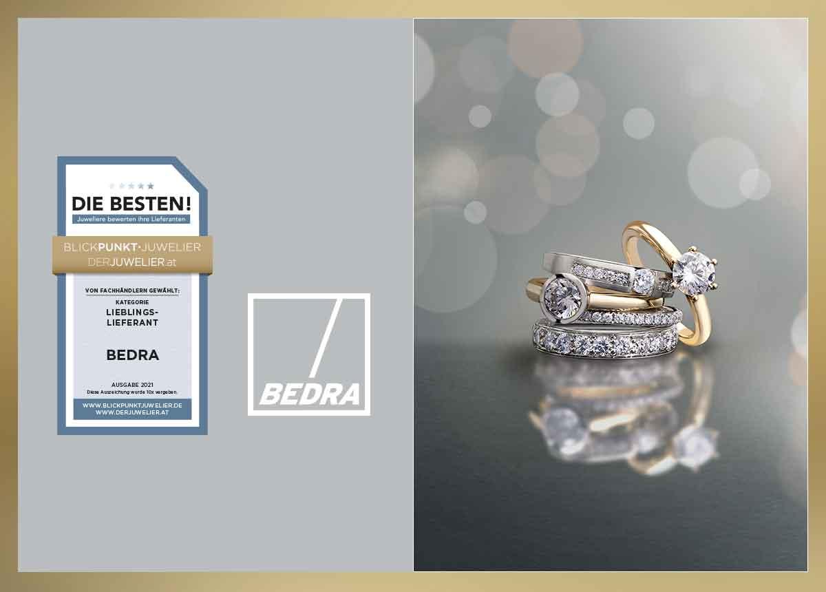 """Juweliere haben den Edelmetallspezialisten und Schmuckgroßhändler Bedra in fünf Kategorien zu den """"Besten 2021"""" gewählt."""