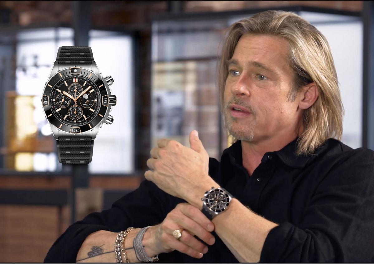 Brad Pitt und die neue Super Chronomat Vier-Jahres-Kalender mit Kunststoffband.