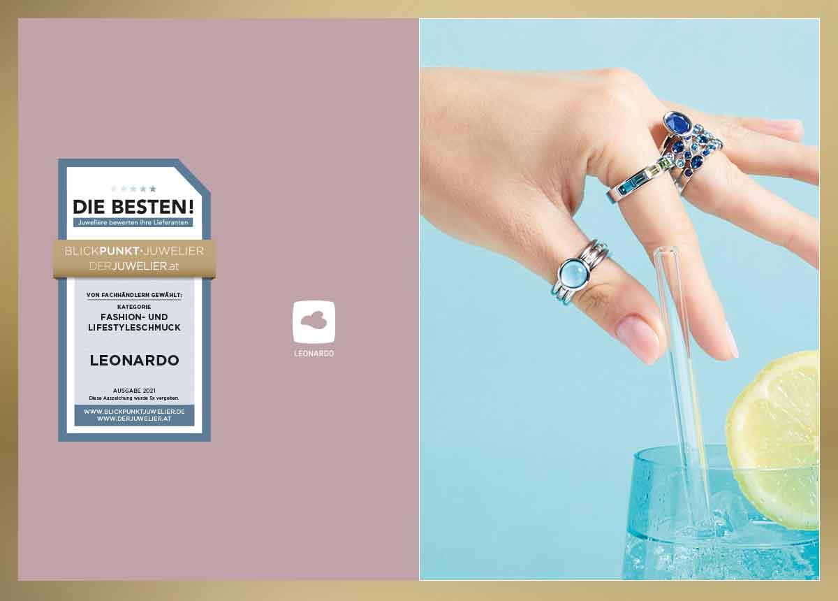 """Glasspezialist Leonardo wurde im Zuge der Umfrage """"Die Besten 2021 – Juweliere bewerten ihre Lieferanten"""" in der Kategorie """"Fashion- und Lifestyleschmuck"""" ausgezeichnet."""