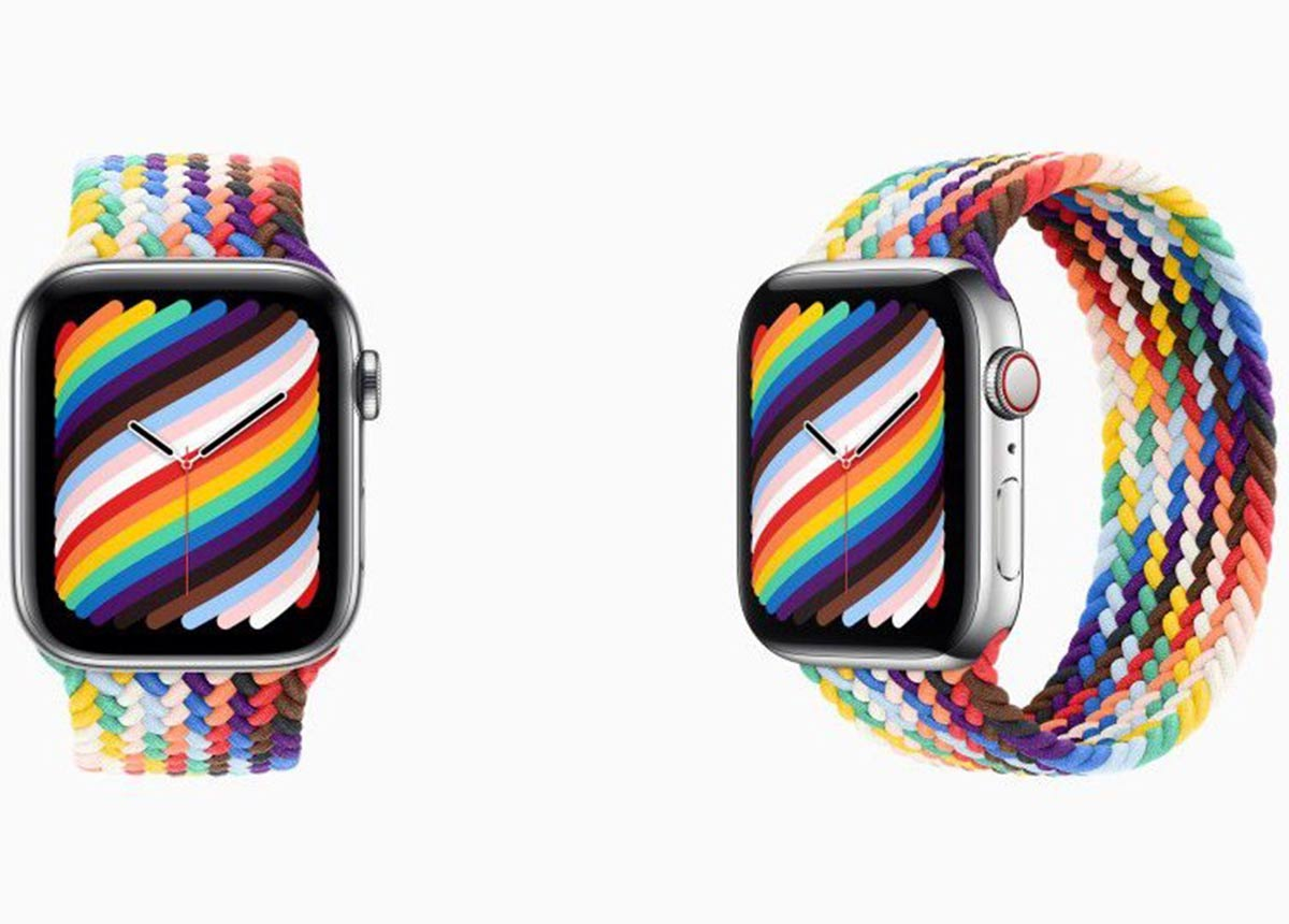 Die Apple Watch mit Pride 2021 Zifferblatt und neuem Uhrenband. (Fotos: Apple)