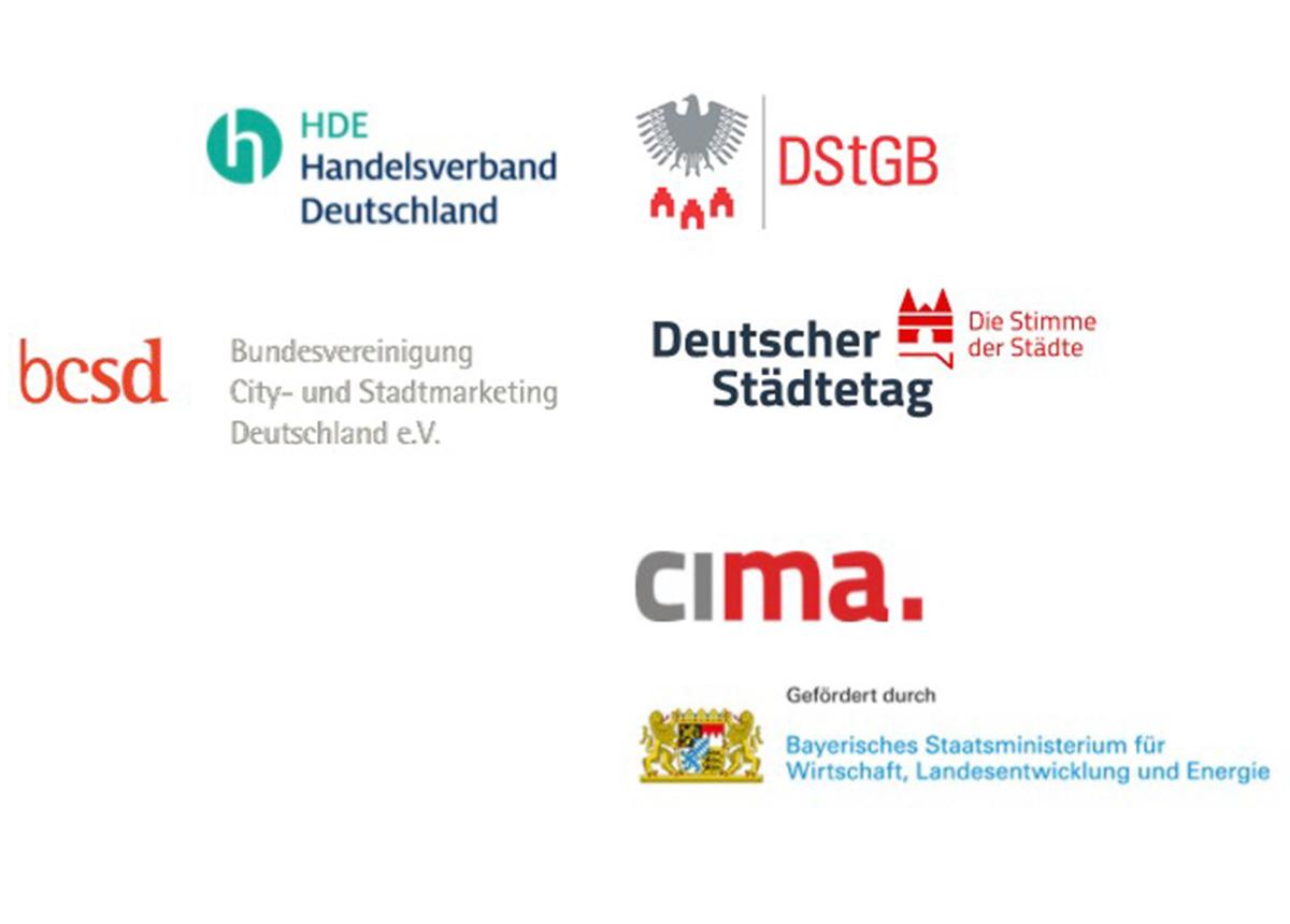 Der Projektpool stadtimpulse wurde initiiert von Handelsverband Deutschland (HDE), Deutscher Städte- und Gemeindebund (DStGB), Bundesvereinigung City- und Stadtmarketing Deutschland (bcsd), Deutscher Städtetag (DST) und CIMA Beratung + Management GmbH (cima) und gefördert durch das Bayerische Wirtschaftsministerium (StMWi).
