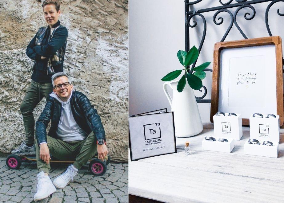 Inhaber Daniel Löffler von Grimm – Das Trauringstudio, mit Mitarbeiterin Anne Janßen sehen Tantalum Trauringe als perfekte Ergänzung zu traditionellen Trauringherstellern.